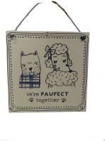 WE'RE PAWFECT TOGETHER'' METAL SHABBY CHIC PLAQUE SIGN WESTIE POODLE FACES
